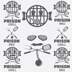 prison bbq concept labels set
