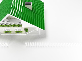nice house on white background, top view,