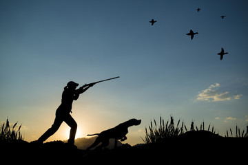 Foto op Canvas Jacht Silhouette of woman hunter at sunset. Duck hunting with dogs.