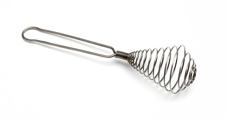 Houseware: steel whisk, isolated on white background