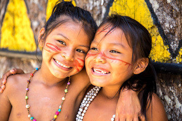Cute Brazilian indians in Amazon, Brazil