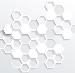 Hexagonal abstract 3d background, vector illustration