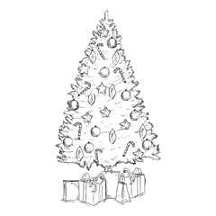 Vector Sketch Christmas Tree with Decoration and Gifts