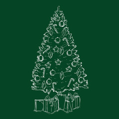 Vector Chalk Sketch Christmas Tree with Decoration and Gifts