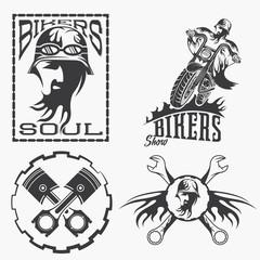 bikers theme labels with biker man,motorbike and repair tools