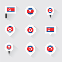 korea north flag and pins for infographic, and map design