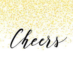 New Year design with golden confetti and lettering