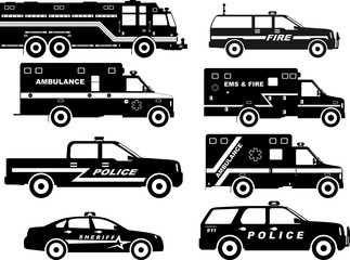 Set of different silhouettes fire truck, police and ambulance