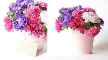 Bouquet of asters in a decorative bucket