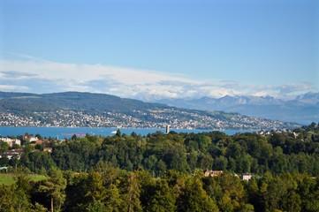 Blick vom Albisgüetli / Zürich über den Zürichsee und Zimmerberg