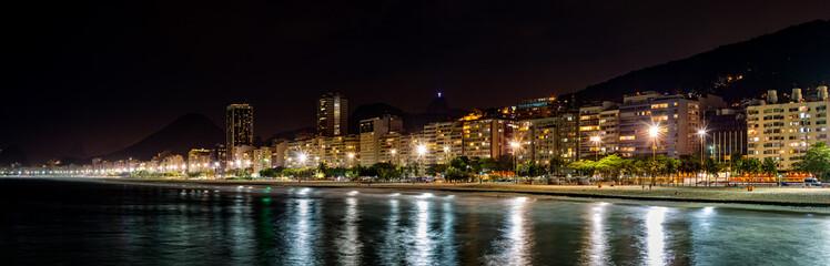 Copacabana Beach panorama by night, in Rio de Janeiro, Brazil
