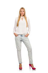 Pretty woman in blue jeans  isolated on white
