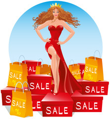 Beautiful girl in a long red evening gown, dress in the image of the Queen stands on a large number of boxes and packages with purchases and gifts on sale at a low price with percent signs, vector