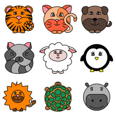 Cute cartoon circle animals collection