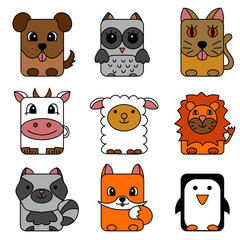 Cute cartoon circle animals collection