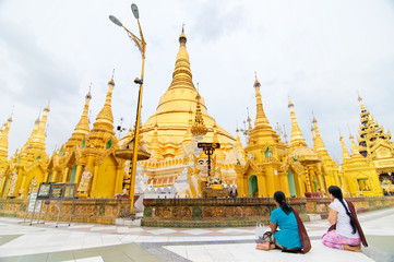 Myanmer famous sacred place and tourist attraction landmark - Shwedagon Paya pagoda.  Yangon, Myanmar (Burma)