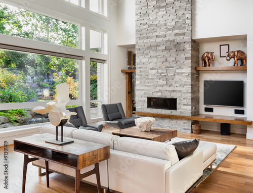 Beautiful Living Room With Hardwood Floors And Tall