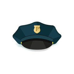 Police cap without gradient. Vector illustration.