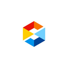 square letter S cube colored technology logo