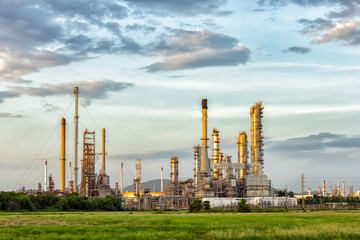 Oil refinery at evening.
