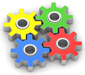 four gears on white background