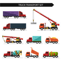 Flat style vector illustration of truck and delivery transport isolated on white background. Including concrete mixer, truck crane, refrigerator, gasoline tanker.