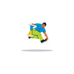 Hockern sport. Tricks with a chair. Vector Illustration.