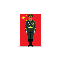 Chinese guard sign. Soldier stands in front uniform on background of the flag China. Vector Illustration.