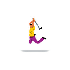 Man jumping with an ax sign. Vector Illustration.