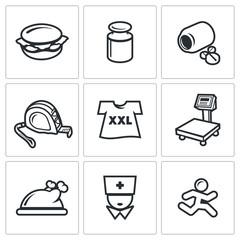 Fighting obesity organism icons set. Vector Illustration.