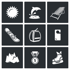 Holidays at seaside and in the mountains icons set. Vector Illustration.
