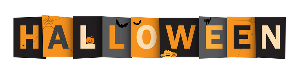 HALLOWEEN Vector Letters Icon with Bats, Black Cat, Pumpkins and Spiders