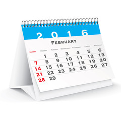 February 2016 desk calendar
