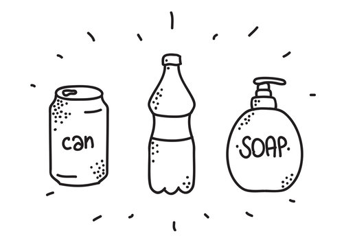 Hand drawn can and bottle icons for design. Vector doodles. Soap