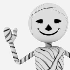 Halloween cartoon stylish and modern mummy character