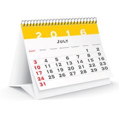 July 2016 desk calendar