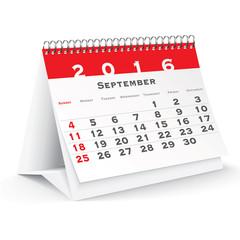 September 2016 desk calendar
