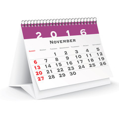 November 2016 desk calendar
