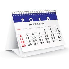 December 2016 desk calendar