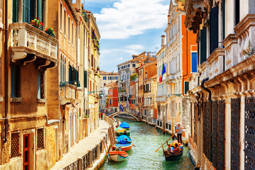 Canvas Prints Venice View of the Rio Marin Canal from the Ponte de la Bergami. Venice