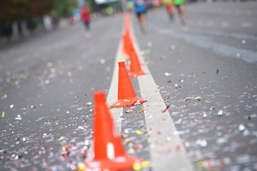 cones of road safety. route for the marathon in the city