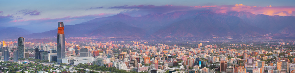 Skyline of Santiago de Chile from Cerro San Cristobal, sunset