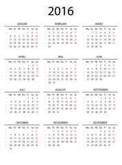 Kalender 2016 mit Linien