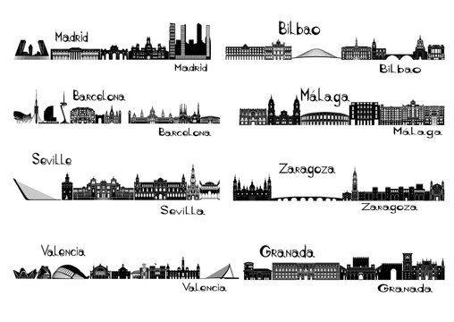 Silhouette signts of 8 cities of Spain