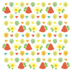 Sweet summer pattern with green trees, red strawberries, flowers and hearts