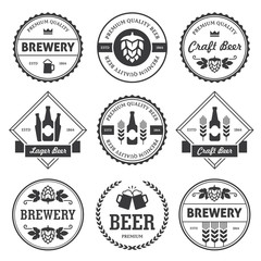 Black beer labels isolated on white