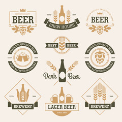 Beer emblems on light background