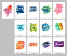 Vector watercolor calendar for year 2016 with place for text