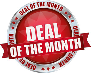 modern red deal of the month sign
