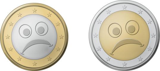 Pièce euro triste